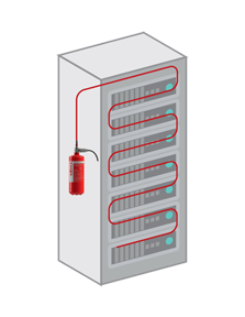 Fire Suppression System for Electrical Server Racks Panel